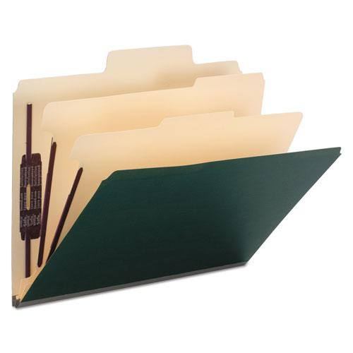 Colored Top Tab Classification Folders, 6 Sections, Letter, Dark Green, 10/BX. Picture 1