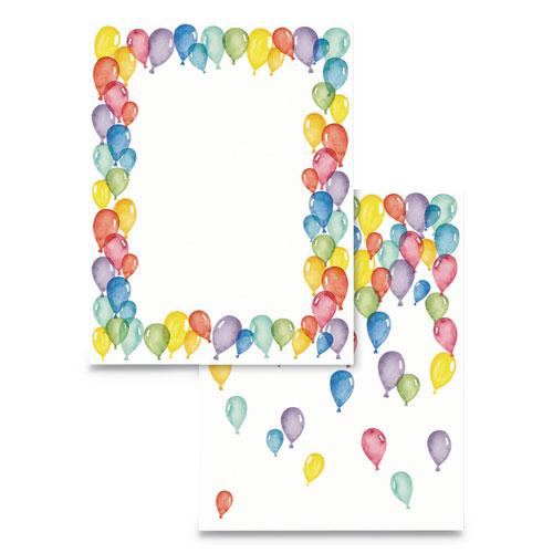 Pre-Printed Paper, 28 lb, 8.5 x 11, Balloons, 100/Pack. Picture 1