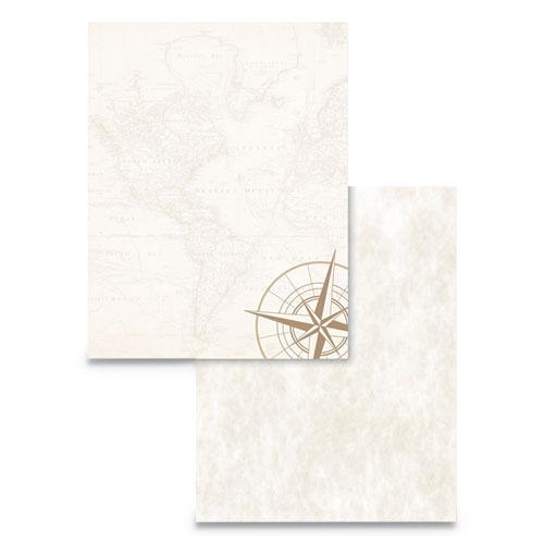 Pre-Printed Paper, 24 lb, 8.5 x 11, Map and Compass, 50/Pack. Picture 1