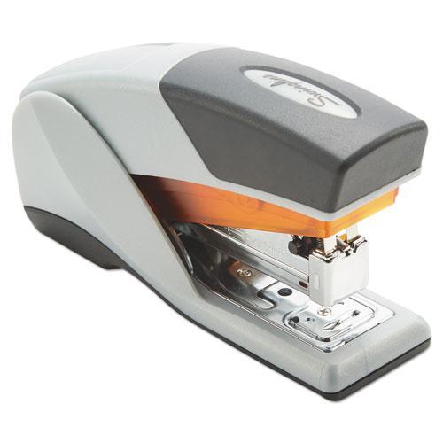 Optima 25 Reduced Effort Compact Stapler, 25-Sheet Capacity, Gray/Orange. Picture 2