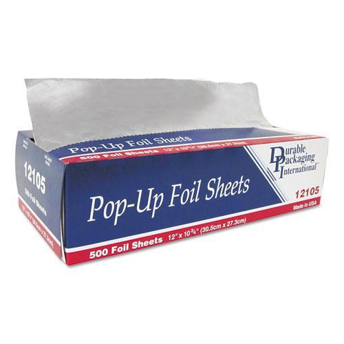 """Pop-Up Aluminum Foil Sheets, 12"""" x 10 3/4"""", 500/Box, 6 Boxes/Carton. Picture 1"""