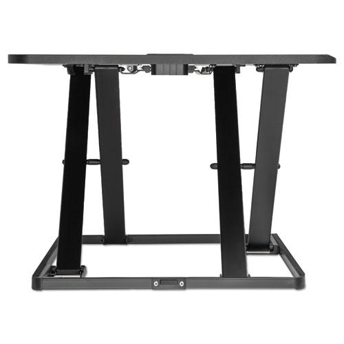 "AdaptivErgo Ultra-Slim Sit-Stand Desk, 31.33"" x 21.63"" x 1.5"" to 16"", Black. Picture 4"
