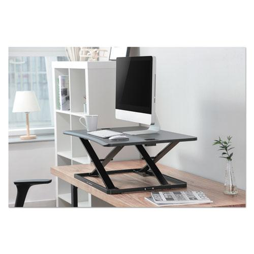 "AdaptivErgo Ultra-Slim Sit-Stand Desk, 31.33"" x 21.63"" x 1.5"" to 16"", Black. Picture 6"