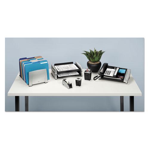 """Office Suites Desktop Tape Dispenser, 1"""" Core, Plastic, Heavy Base, Black/Silver. Picture 3"""