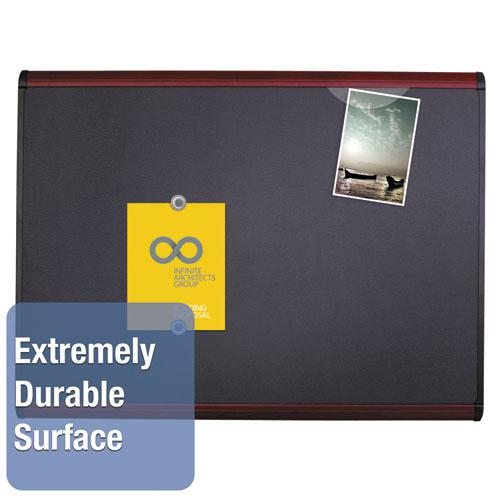 Prestige Plus Magnetic Fabric Bulletin Board, 48 x 36, Mahogany Frame. Picture 2