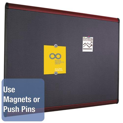 Prestige Plus Magnetic Fabric Bulletin Board, 48 x 36, Mahogany Frame. Picture 3