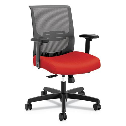 Convergence Mid-Back Task Chair with Syncho-Tilt Control with Seat Slide, Supports up to 275 lbs, Red Seat, Black Back/Base. Picture 1