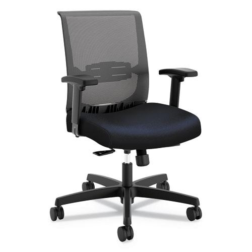 Convergence Mid-Back Task Chair with Syncho-Tilt Control/Seat Slide, Supports up to 275 lbs, Navy Seat, Black Back/Base. Picture 1