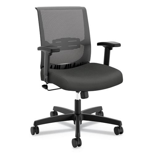 Convergence Mid-Back Task Chair with Swivel-Tilt Control, Supports up to 275 lbs, Iron Ore Seat, Black Back, Black Base. Picture 1