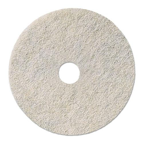 "Natural White Burnishing Floor Pads, 21"" Diameter, 5/Carton. Picture 1"