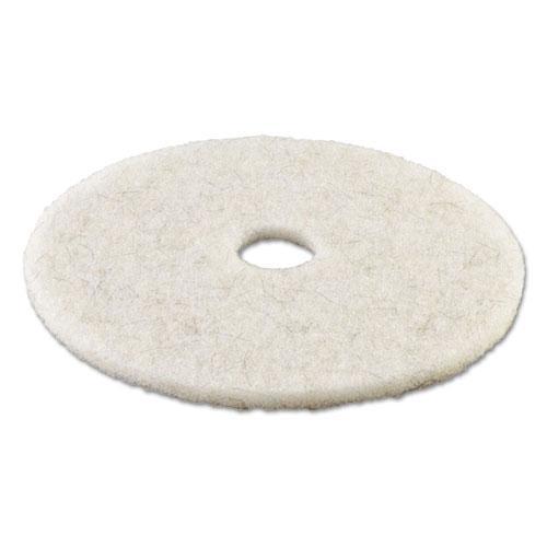 "Natural White Burnishing Floor Pads, 21"" Diameter, 5/Carton. Picture 2"