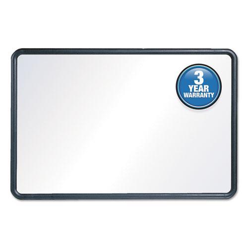 Contour Dry-Erase Board, Melamine, 24 x 18, White Surface, Black Frame. Picture 1