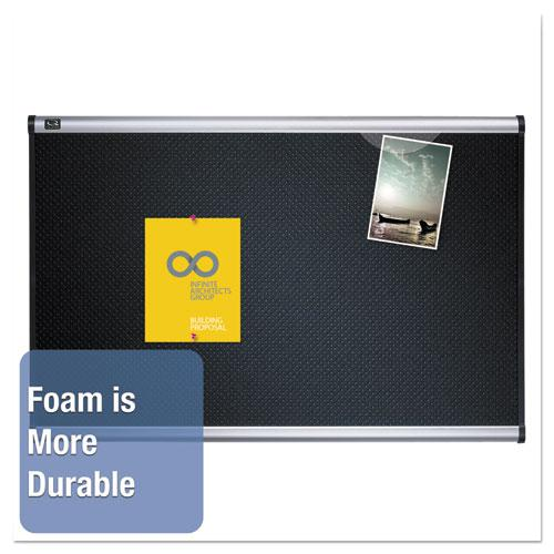 Prestige Embossed Foam Bulletin Board, 72 x 48, Black, Aluminum Frame. Picture 3