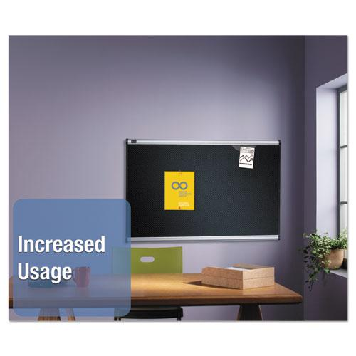 Prestige Embossed Foam Bulletin Board, 72 x 48, Black, Aluminum Frame. Picture 4