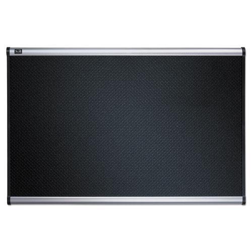 Prestige Embossed Foam Bulletin Board, 72 x 48, Black, Aluminum Frame. Picture 5