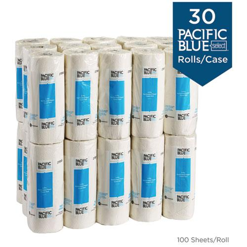 Pacific Blue Select Two-Ply Perforated Paper Kitchen Roll Towels, 11 x 8.8, White, 100/Roll, 30 Rolls/Carton. Picture 4