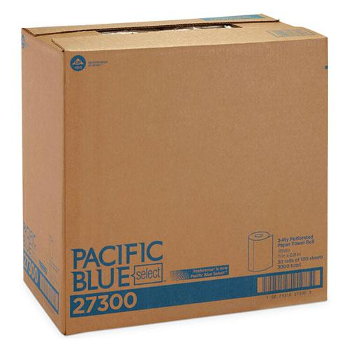 Pacific Blue Select Two-Ply Perforated Paper Kitchen Roll Towels, 11 x 8.8, White, 100/Roll, 30 Rolls/Carton. Picture 5