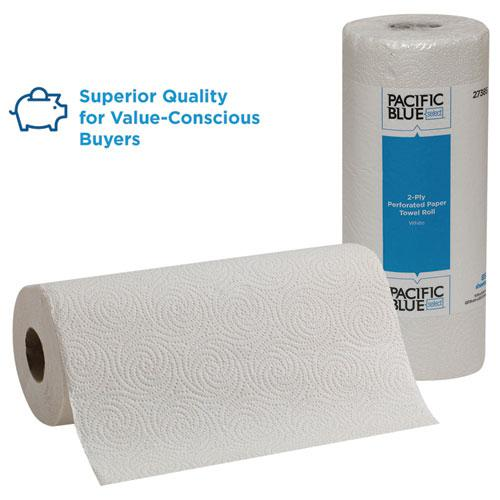 Pacific Blue Select Two-Ply Perforated Paper Kitchen Roll Towels, 11 x 8.8, White, 85/Roll, 30 Rolls/Carton. Picture 3