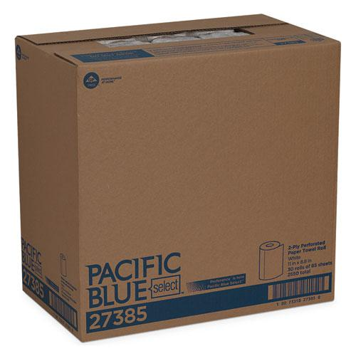 Pacific Blue Select Two-Ply Perforated Paper Kitchen Roll Towels, 11 x 8.8, White, 85/Roll, 30 Rolls/Carton. Picture 5