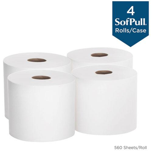 SofPull Perforated Paper Towel, 7 4/5 x 15, White, 560/Roll, 4 Rolls/Carton. Picture 3