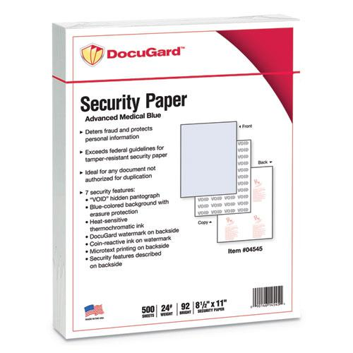 Medical Security Papers, 24lb, 8.5 x 11, Blue, 500/Ream. Picture 1