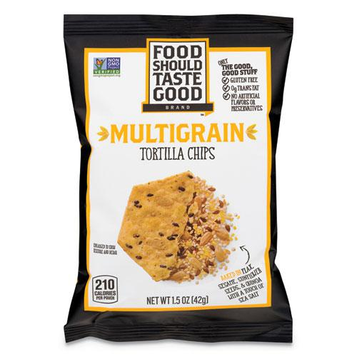 Tortilla Chips, Multigrain with Sea Salt, 1.5 oz, 24/Carton. Picture 1