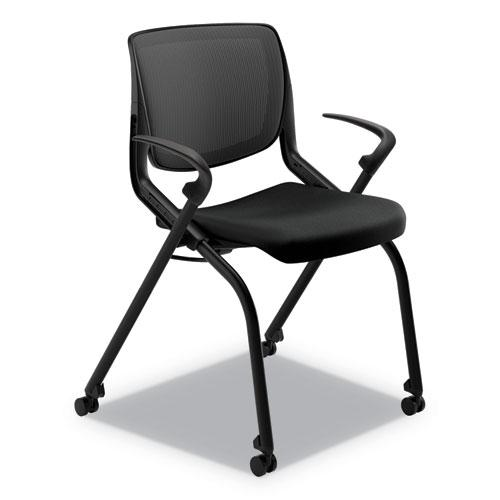 Motivate Nesting/Stacking Flex-Back Chair, Onyx Seat/Black Back, Black Base. Picture 1