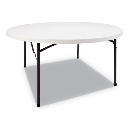 Round Plastic Folding Table, 60 Dia x 29 1/4h, White. Picture 1