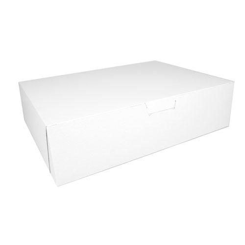 Non-Window Bakery Box, 19w x 14d x 5h, White, 50/Carton. Picture 1