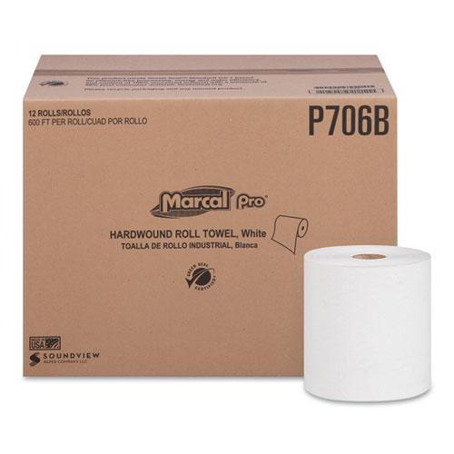 """Hardwound Roll Paper Towels, 1-Ply, 7 7/8"""" x 600ft, 12 Rolls/Pack, 6 Pack/Carton. Picture 1"""