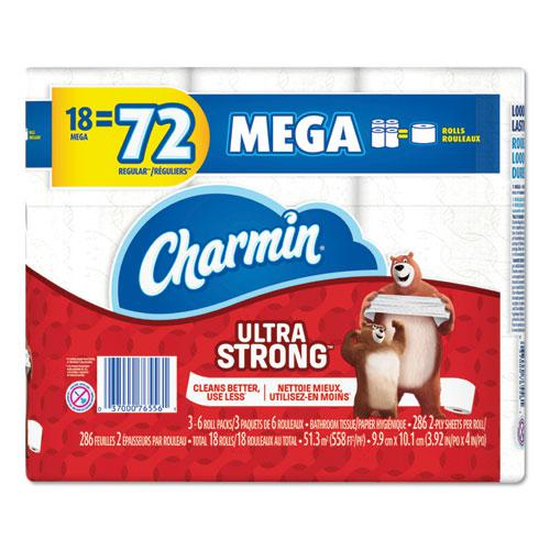 Ultra Strong Bathroom Tissue, Septic Safe, 2-Ply, White, 286 Sheet/Roll, 18/Pack