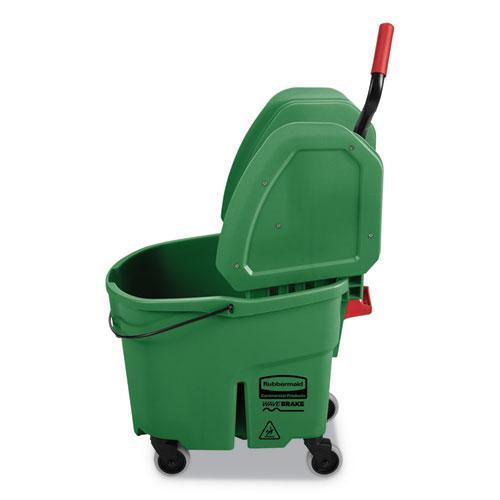 WaveBrake 2.0 Bucket/Wringer Combos, 35 qt, Down Press, Plastic, Green. Picture 2