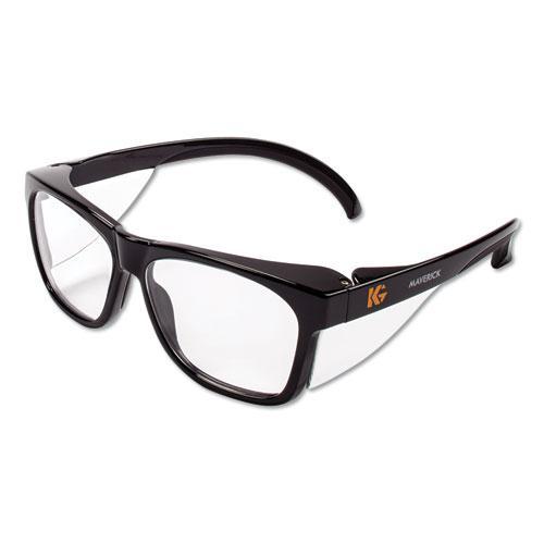 Maverick Safety Glasses, Black, Polycarbonate Frame, Clear Lens. Picture 1