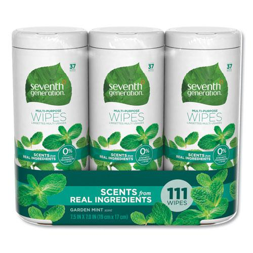 Multi Purpose Wipes, 7 x 7 1/2, Garden Mint, 37 Wipes/Container, 3 Container/PK. Picture 1