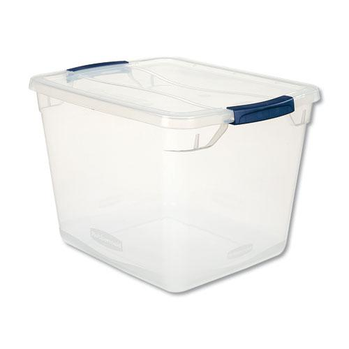 "Clever Store Basic Latch-Lid Container, 30 qt, 13.38"" x 16.88"" x 11.5"", Clear. Picture 1"