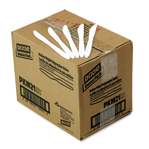 Plastic Cutlery, Mediumweight Knives, White, 1000/Carton. The main picture.