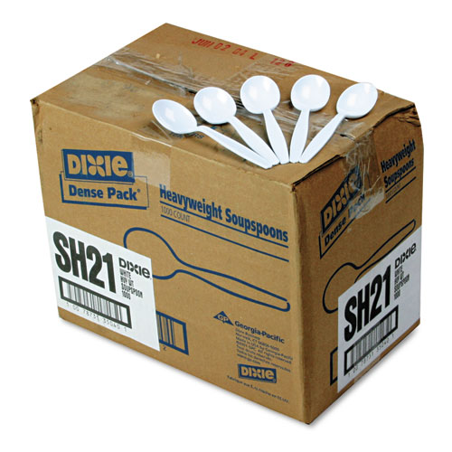 Plastic Cutlery, Heavyweight Soup Spoons, White, 1,000/Carton. Picture 1
