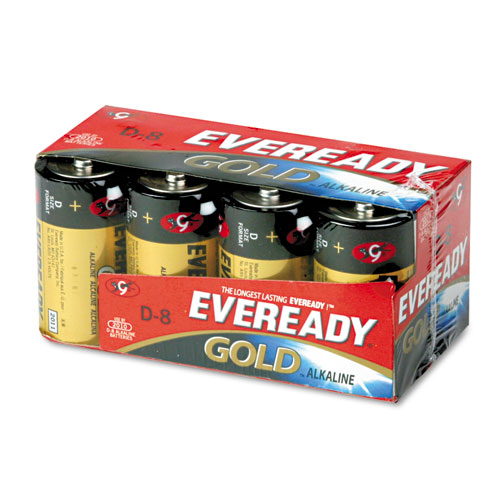 Gold D Batteries, 1.5V, 8/Pack. Picture 1