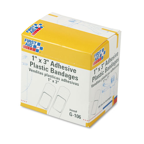 "Plastic Adhesive Bandages, 1"" x 3"", 100/Box. Picture 1"