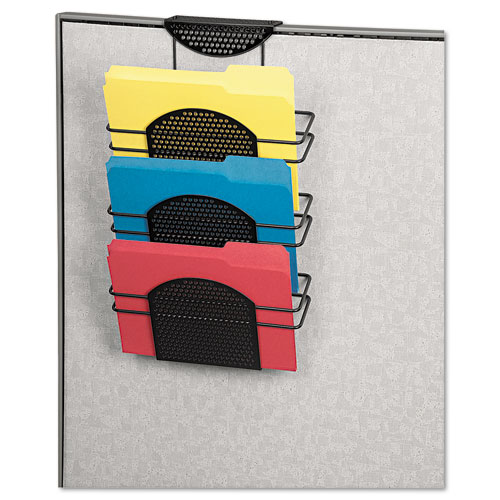 Perf-Ect Partition Additions Three-Pocket Organizer, 12 1/2 x 21 3/8, Black. Picture 2