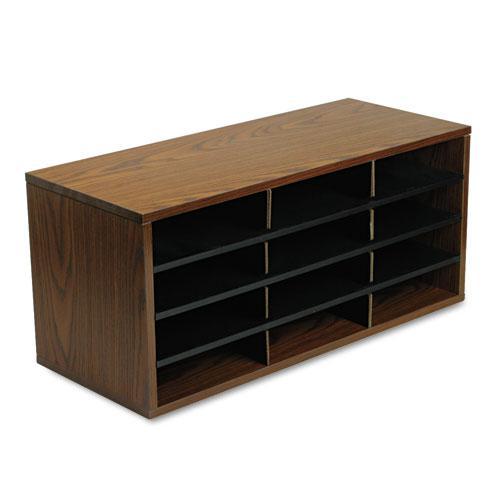 Particle Board Desktop Sorter, 12 Section, 29 x 11 7/8 x 12 15/16, Medium Oak. Picture 3