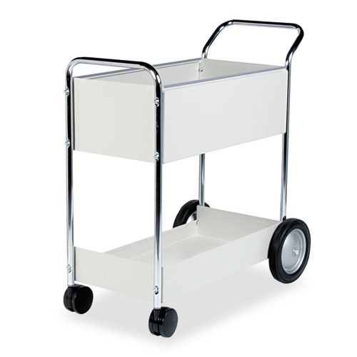 Steel Mail Cart, 150-Folder Capacity, 20w x 40.5d x 39h, Dove Gray. Picture 1