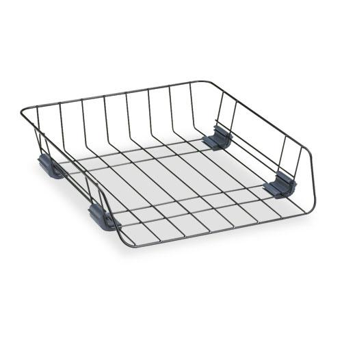 """Front-Load Wire Desk Tray, 1 Section, Letter Size Files, 10.88"""" x 12.63"""" x 2.63"""", Black. Picture 1"""