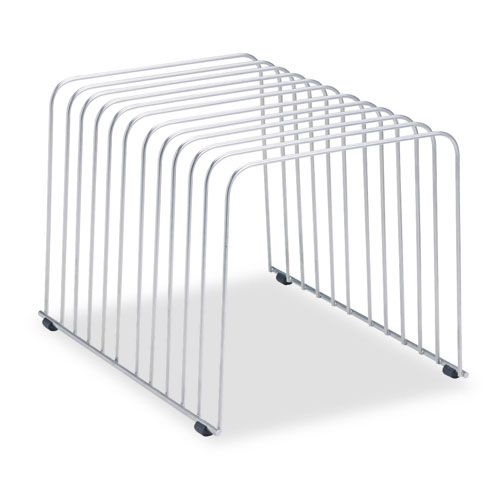 """Wire Desktop Organizer, 11 Sections, Letter to Legal Size Files, 9"""" x 11.38"""" x 8"""", Silver. Picture 1"""