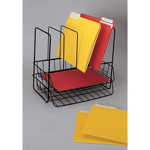 "Wire Double Tray with Vertical Sorter, 7 Sections, Letter Size Files, 13.75"" x 10.13"" x 12.5"", Black. Picture 2"