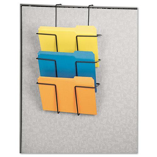 Wire Partition Additions Three-Pocket Organizer, 12 5/8 x 23 1/4, Black. Picture 2