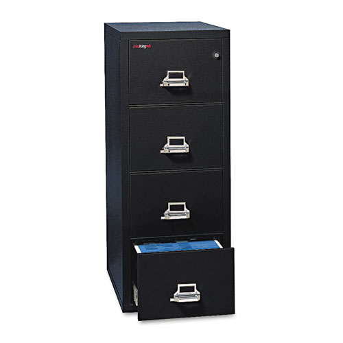 Four-Drawer Vertical File, 17.75w x 25d x 52.75h, UL Listed 350 Degree for Fire, Letter, Black. Picture 1