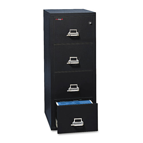 Four-Drawer Vertical File, 17.75w x 31.56d x 52.75h, UL 350 Degree for Fire, Letter, Black. Picture 1