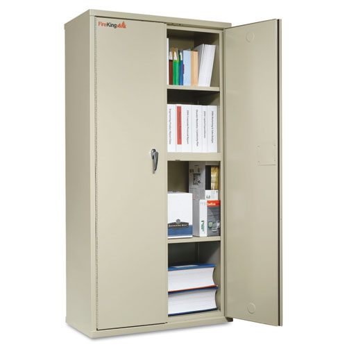 Storage Cabinet, 36w x 19 1/4d x 72h, UL Listed 350 Degree, Parchment. Picture 1