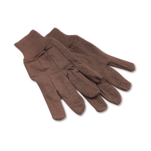 Jersey Knit Wrist Clute Gloves, One Size Fits Most, Brown, 12 Pairs. Picture 1